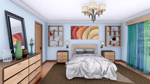 Modern bedroom interior design 3D animation Live Action