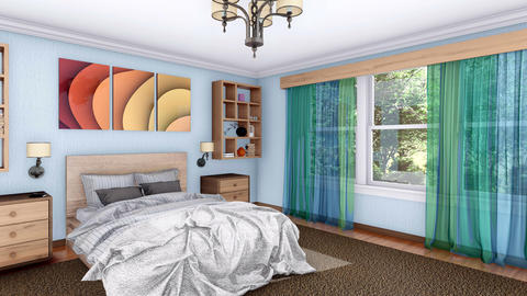 3D animation of bright modern bedroom interior Footage