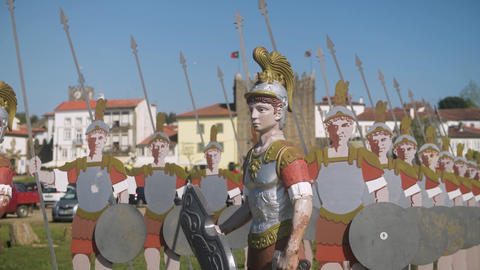 Statues of roman soldiers Footage