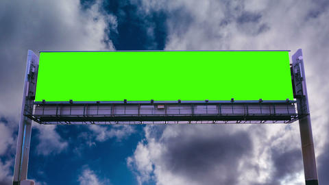 Billboard green screen on sky background Live Action
