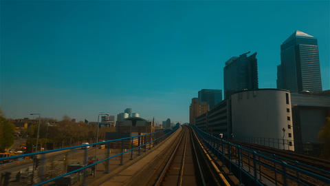 DLR train journey, London, England, UK Live Action