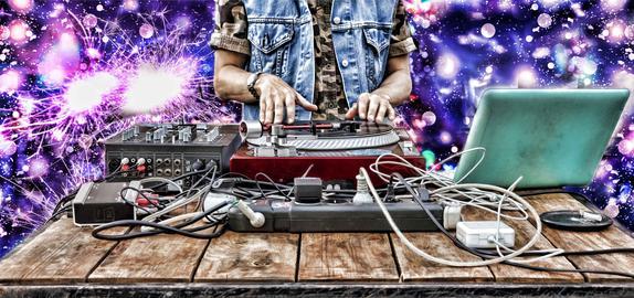 World Day DJ., dj music mixer playing closeup party sound Photo