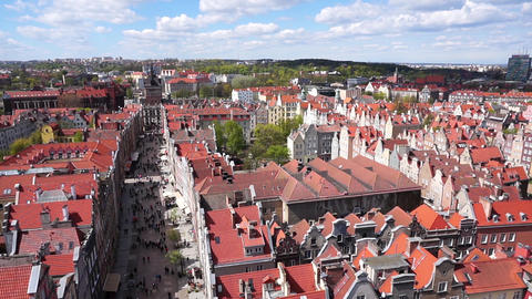 Gdansk, Poland. The Long Market In The Old Town, View From Above GIF