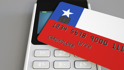 Payment or POS terminal with credit card featuring flag of Chile. Chilean retail Footage