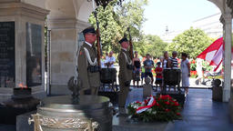 Warsaw, Poland. Polish Soldiers Guard At Tomb Of The Unknown Soldier, Warsaw Footage