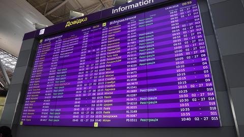 Departure Flight Schedule Board In Kiev Airport On Ukrainian English Languages Live Action