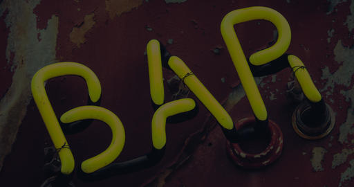 Yellow Neon Bar Sign Stock Video Footage