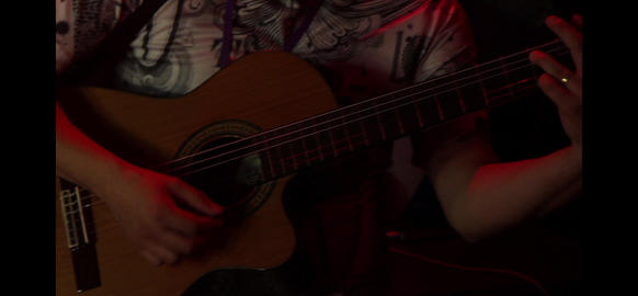 Hands Playing Guitar Footage
