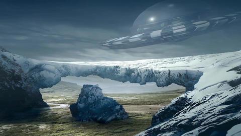 Fantastic Landscape Animation. UFO ver. 02 Animation