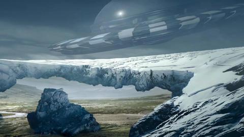 Fantastic Landscape Animation. UFO ver. 04 Animation