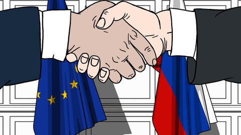 Businessmen or politicians shaking hands against flags of EU and Russia. Meeting Footage