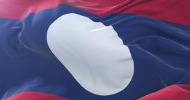 Laos flag waving at wind with blue sky in slow, loop Animation
