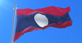 Flag of Laos waving at wind with blue sky in slow, loop Animation