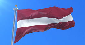 Flag of Latvia waving at wind with blue sky in slow, loop Animation