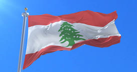 Lebanon flag waving at wind with blue sky in slow, loop Animation