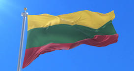 Flag of Lithuania waving at wind with blue sky in slow, loop Animation