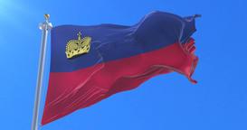 Flag of Liechtenstein waving at wind with blue sky in slow, loop Animation