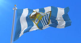 Flag of Malaga Football Clup waving at wind, loop 애니메이션