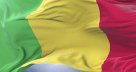 Malian flag waving at wind with blue sky in slow, loop Animation