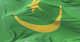 Mauritania flag waving at wind with blue sky in slow, loop Animation