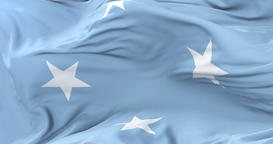 Flag of the Federated States of Micronesia waving at wind with blue sky in slow, Animation