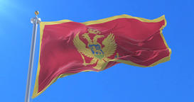 Flag of Montenegro waving at wind with blue sky in slow, loop Animation