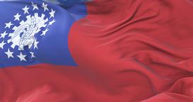 Flag of Myanmar or Union of Burma waving at wind in slow, loop Animation