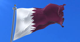 Qatar flag waving at wind in slow with blue sky, loop Animation