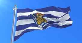 Flag of Real Sociedad de Futbol Football Club, spanish soccer club, loop Animation
