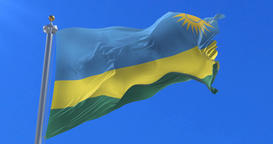 Flag of Rwanda waving at wind in slow, loop Animation
