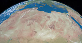 Sahara desert in planet earth, aerial view from outer space Animación