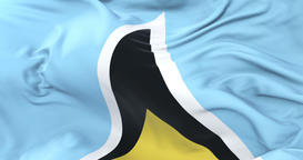 Saint Lucia flag waving at wind in slow with blue sky, loop Animation
