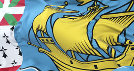 Flag of Saint Pierre and Miquelon waving at wind in slow, loop Animation