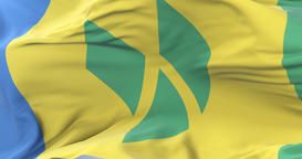 Flag of Saint Vincent and the Grenadines waving at wind in slow, loop Animation