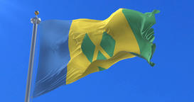 Saint Vincent and the Grenadines flag waving at wind in slow, loop Animation