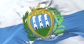 San Marino flag waving at wind in slow with blue sky, loop Animation