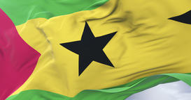 São Tomé and Príncipe flag waving at wind in slow with blue sky, loop Animation
