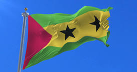 Flag of São Tomé and Príncipe waving at wind in slow with blue sky, loop Animation