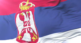 Serbia flag waving at wind in slow with blue sky, loop Animation