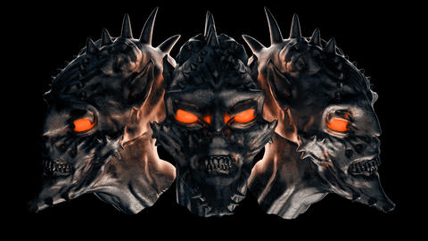 Three Demons Heads GIF