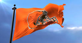 Cleveland Browns flag, american football team, waving - loop Animation