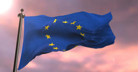 Flag of Europe waving at wind in slow at sunset, loop Animation