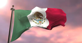 Mexico flag waving at wind at sunset, loop Animation
