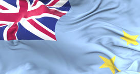 Tuvalu flag waving at wind in slow with blue sky, loop Animation