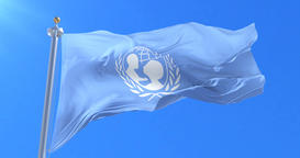 Flag of UNICEF, United Nations Children's Fund, waving at wind in slow, loop Animation