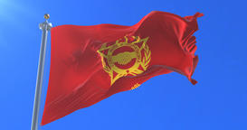 Warsaw Pact flag waving at wind with blue sky, loop Animation