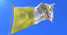 Flag of Vatican City waving at wind in slow with blue sky, loop Animation