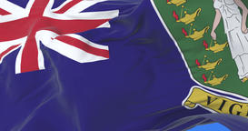 Flag of the British Virgin Islands waving at wind with blue sky, loop Animation