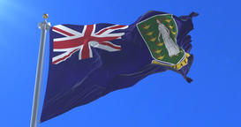 British Virgin Islands flag waving at wind with blue sky, loop Animation