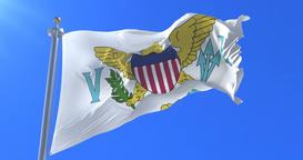 Flag of the United States Virgin Islands waving at wind with blue sky, loop Animation